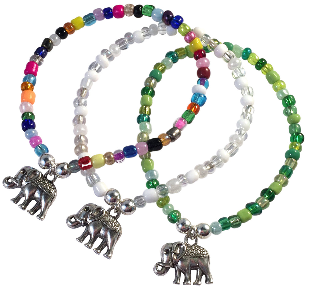 Elephant Charm BRACELET 9 Colour Choices Seed Glass Beads and Silver Tone Beads - Vilda Fashion Jewellery - 1