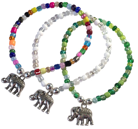 Elephant Charm BRACELET 9 Colour Choices Seed Glass Beads and Silver Tone Beads