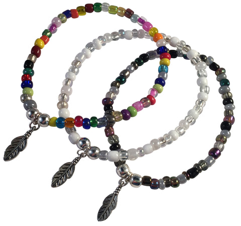 Feather Charm BRACELET 9 Colour Choices Seed Glass Beads and Silver Tone Beads