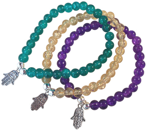 HAMSA Charm BRACELET 10 Colours with 6mm Crackle Glass Beads and Silver Tone Beads Fatima's Hand