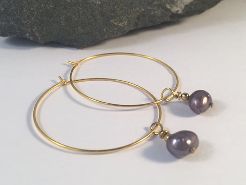 Grey Freshwater Pearl Charm Hoop EARRINGS on Gold Metal Hoops - Vilda Fashion Jewellery - 2