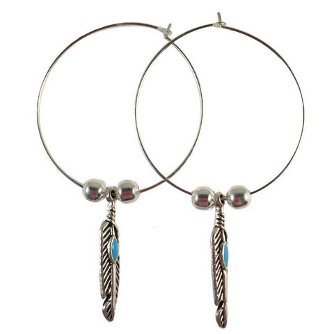 Feather and Turquoise Charm Silver Tone HOOP Earrings