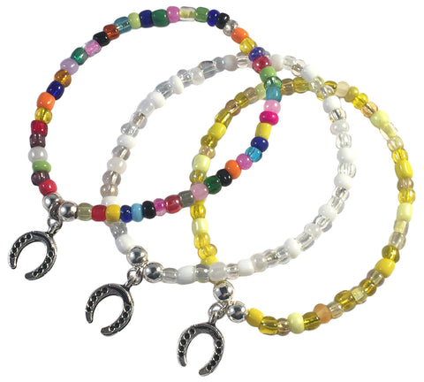 Horseshoe Charm BRACELET 9 Colour Choices Seed Glass Beads and Silver Tone Beads - Vilda Fashion Jewellery - 1