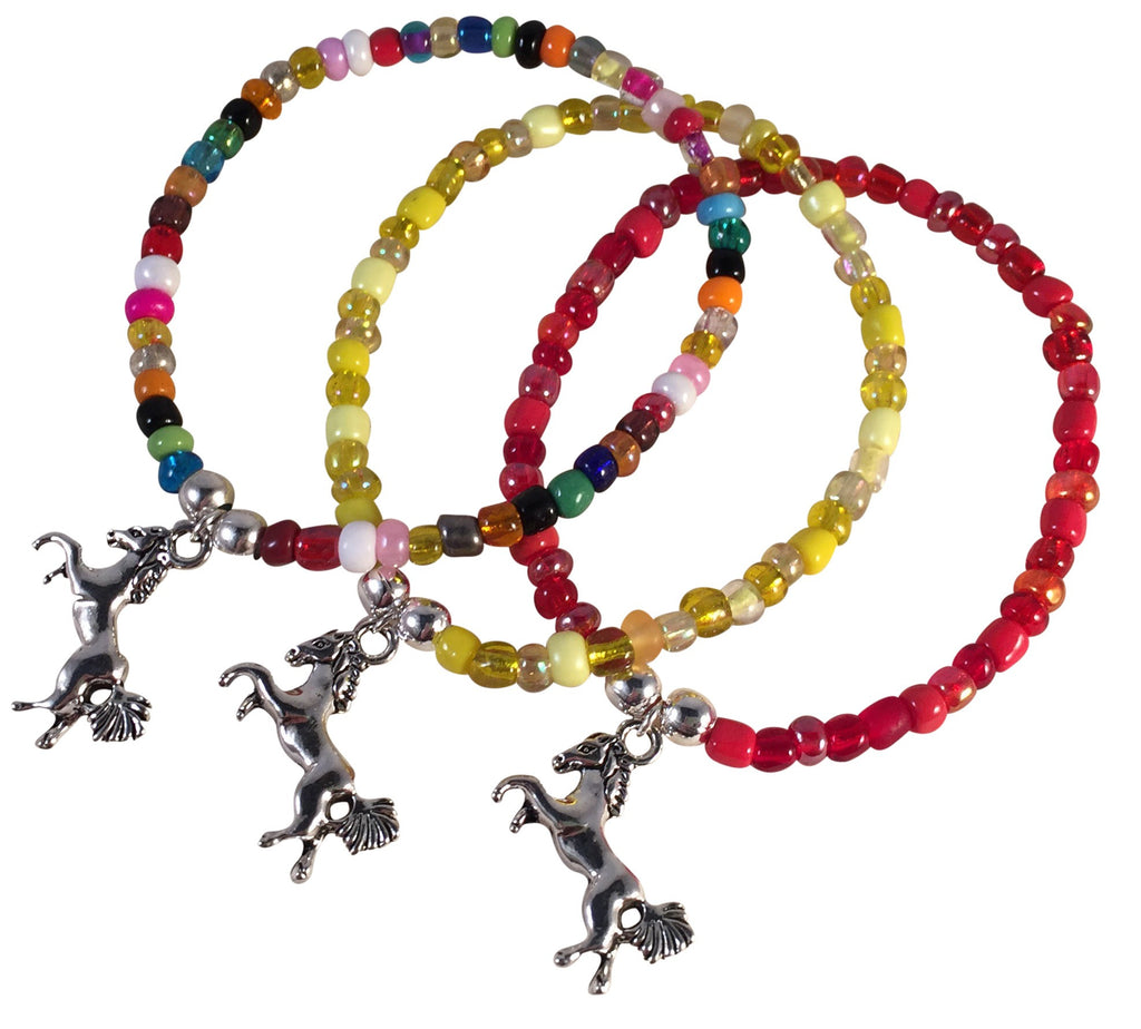 Horse Charm BRACELET 9 Colour Choices Seed Glass Beads and Silver Tone Beads - Vilda Fashion Jewellery - 1