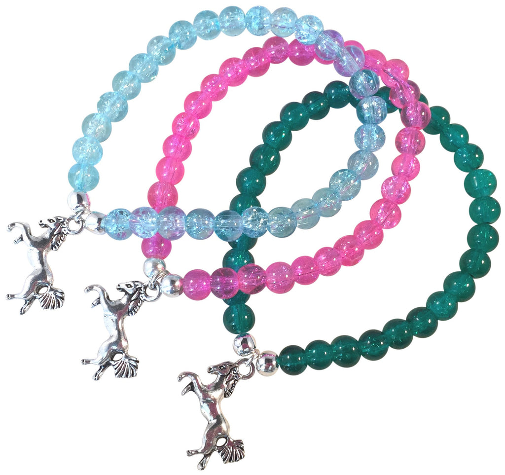 HORSE Charm BRACELET 10 Colours with 6mm Crackle Glass Beads and Silver Tone Beads Pony - Vilda Fashion Jewellery - 1