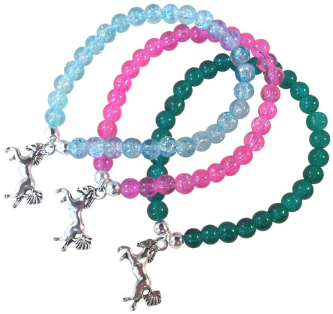 HORSE Charm BRACELET 10 Colours with 6mm Crackle Glass Beads and Silver Tone Beads Pony