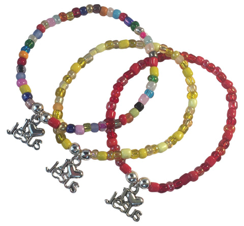 I Love Jesus Charm BRACELET 9 Colour Choices Seed Glass Beads and Silver Tone Beads