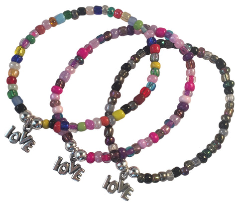 LOVE Charm BRACELET 9 Colour Choices Seed Glass Beads and Silver Tone Beads