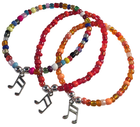 Music Note Charm BRACELET 9 Colour Choices Seed Glass Beads and Silver Tone Beads
