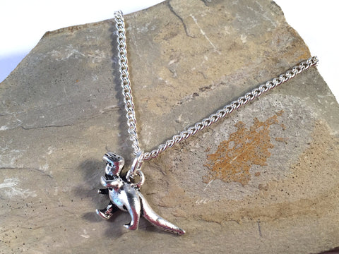 "DINOSAUR Charm Pendant NECKLACE on Silverplated Chain Choose 16"" 18"" 20"" - Vilda Fashion Jewellery - 2"