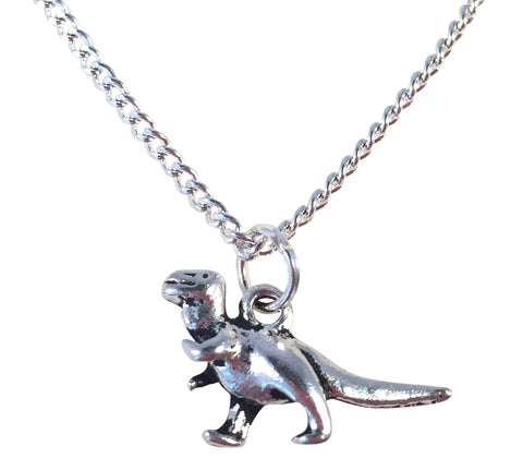 "DINOSAUR Charm Pendant NECKLACE on Silverplated Chain Choose 16"" 18"" 20"" - Vilda Fashion Jewellery - 1"