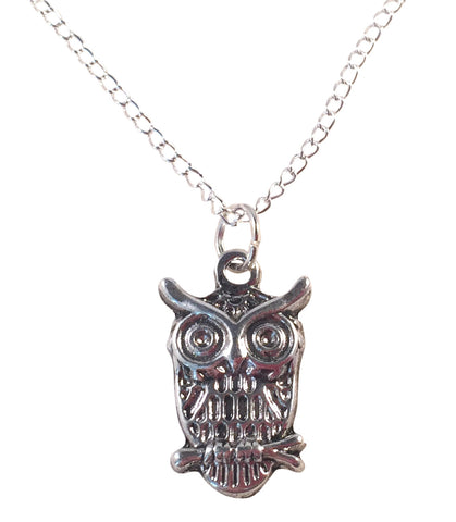 "OWL Charm Pendant NECKLACE on Silverplated Chain Choose 16"" 18"" 20"" Wisdom Symbol - Vilda Fashion Jewellery - 1"