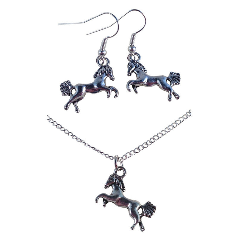 HORSE Tibetan Silver Charm Pendant Necklace and Earrings Set - Vilda Fashion Jewellery