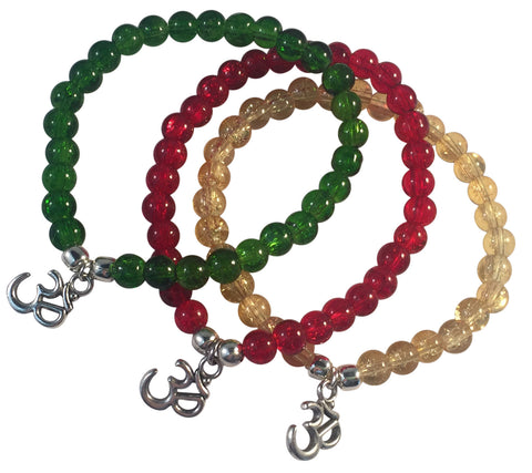 OHM Yoga Charm BRACELET 10 Colours with 6mm Crackle Glass Beads and Silver Tone Beads