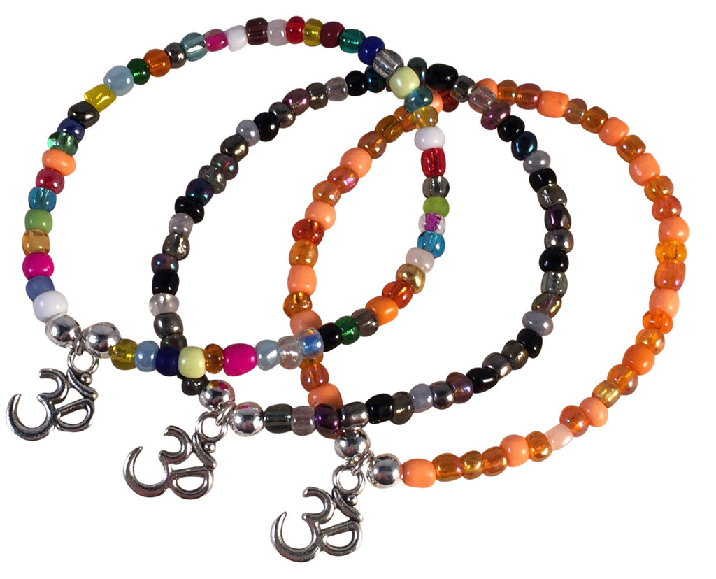 OHM Yoga Charm BRACELET 9 Colour Choices Seed Glass Beads and Silver Tone Beads - Vilda Fashion Jewellery - 1
