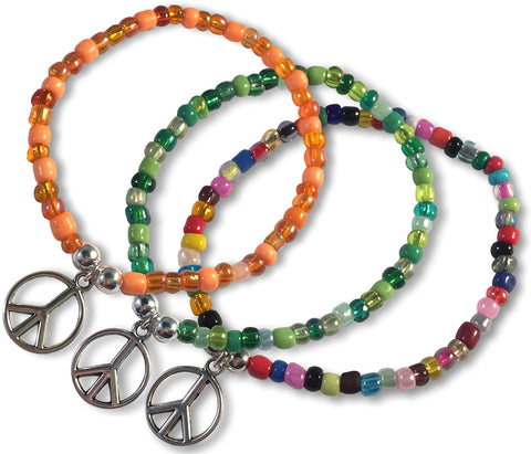 PEACE Sign Charm BRACELET 9 Colour Choices Seed Glass Beads and Silver Tone Beads