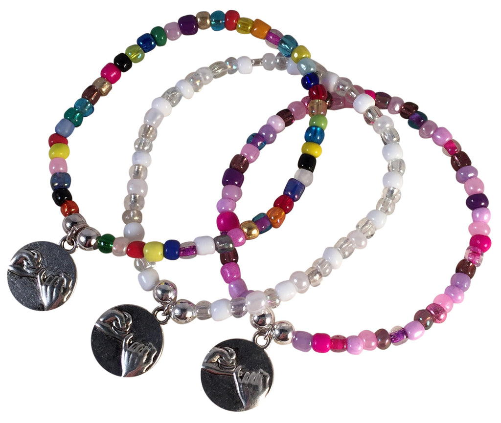 Pinky Promise Charm BRACELET 9 Colour Choices Seed Glass Beads and Silver Tone Beads - Vilda Fashion Jewellery - 1