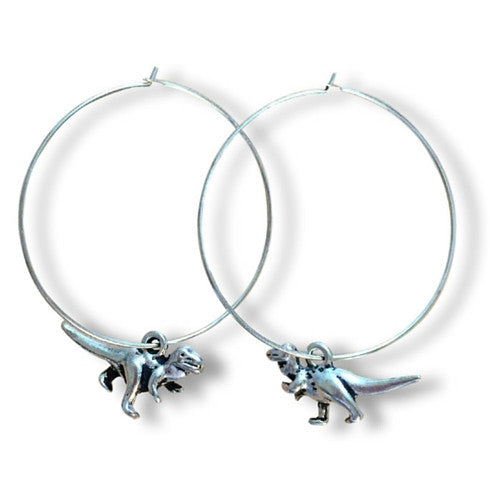 DINOSAUR Charm Plain Silver Tone HOOP EARRINGS - Vilda Fashion Jewellery