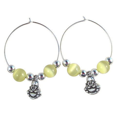 BUDDHA Charm HOOP EARRINGS with Yellow Cats Eye Beads on Silver Tone Hoops Buddhism Meditation
