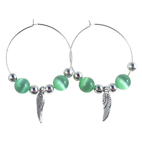 ANGEL Wings Charm HOOP EARRINGS with Green Cats Eye Beads on Silver Tone Hoops - Vilda Fashion Jewellery - 1