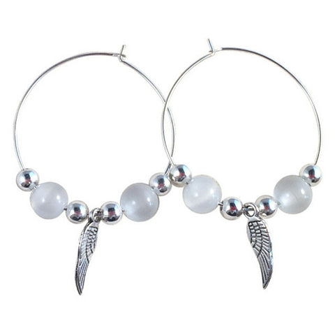 ANGEL Wings Charm HOOP EARRINGS with White Cats Eye Beads on Silver Tone Hoops