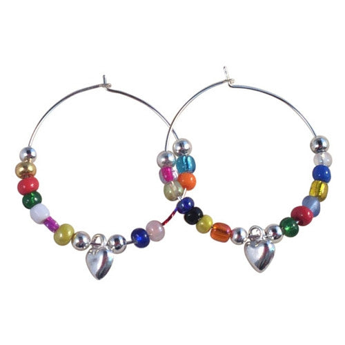 HEART Charm HOOP EARRINGS with Mixed Glass Seed Beads on Silver Tone Hoops - Vilda Fashion Jewellery - 1