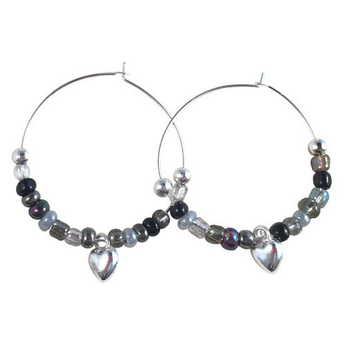 HEART Charm HOOP EARRINGS with Black and Grey Glass Seed Beads on Silver Tone Hoops - Vilda Fashion Jewellery - 1