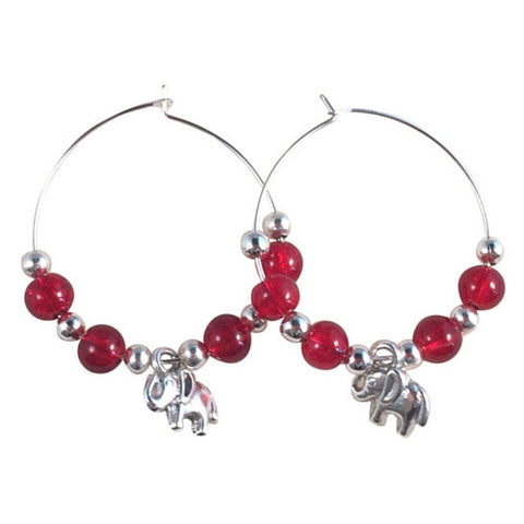 ELEPHANT Charm HOOP EARRINGS with Bright Red Crackle Glass Beads on Silver Tone Hoops
