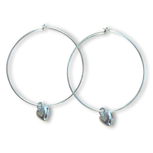 HEART Charm Plain Silver Tone HOOP EARRINGS - Vilda Fashion Jewellery
