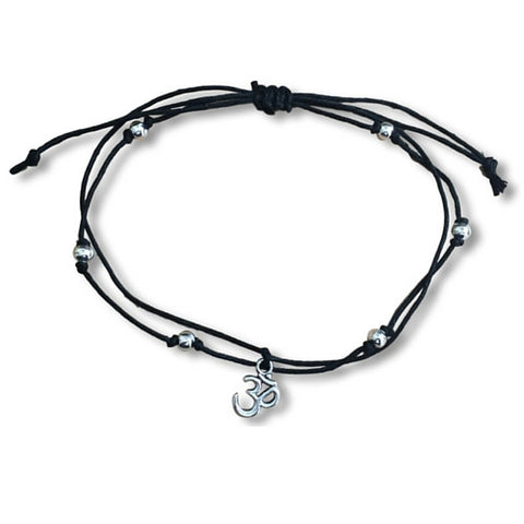 ANKLET Double Hemp String with OHM Yoga Charm and Silver Tone Metal Beads