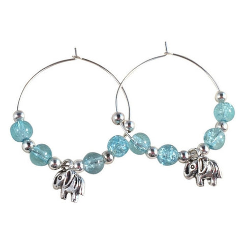 ELEPHANT Charm HOOP EARRINGS with Light Blue Crackle Glass Beads on Silver Tone Hoops