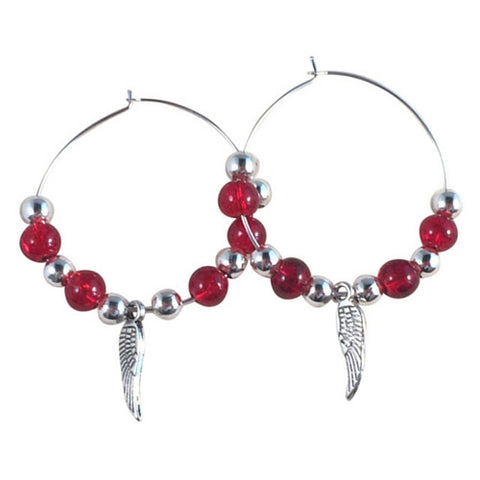 ANGEL WINGS Charm Hoop EARRINGS with Bright Red Crackle Glass Beads on Silver Tone Hoops - Vilda Fashion Jewellery - 1
