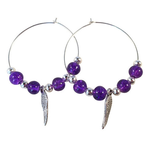 ANGEL WINGS Charm Hoop EARRINGS with Deep Purple Crackle Glass Beads on Silver Tone Hoops
