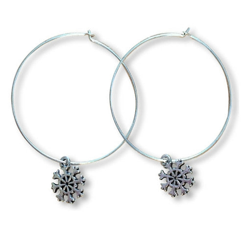 SNOWFLAKE Charm Plain Silver Tone HOOP EARRINGS - Vilda Fashion Jewellery
