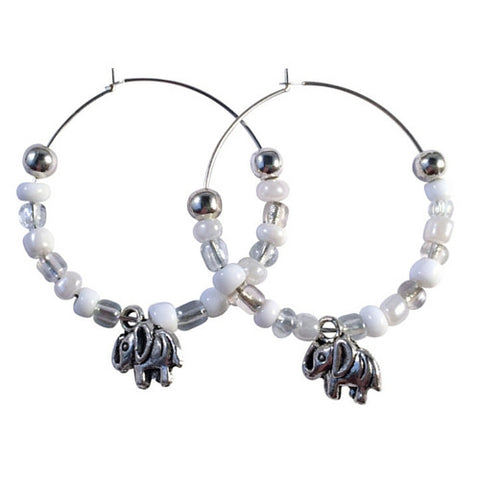 ELEPHANT Charm HOOP EARRINGS with White and Clear Glass Seed Beads on Silver Tone Hoops