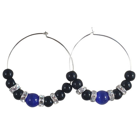 HOOP EARRINGS with Dark Blue Catseye Glass Beads and Black Acrylic Beads on Silver Tone Hoops - Vilda Fashion Jewellery - 1