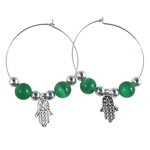 HAMSA Charm HOOP EARRINGS with Green Cats Eye Beads on Silver Tone Hoops Fatima's Hand Miriam - Vilda Fashion Jewellery - 1