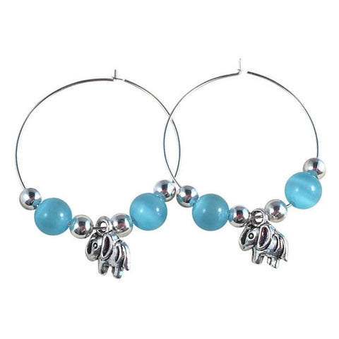 ELEPHANT Charm HOOP EARRINGS with Light Blue Cats Eye Beads on Silver Tone Hoops