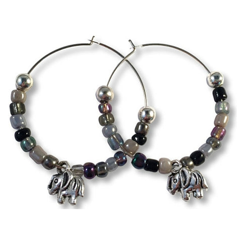 ELEPHANT Charm HOOP EARRINGS with Black and Grey Glass Seed Beads on Silver Tone Hoops