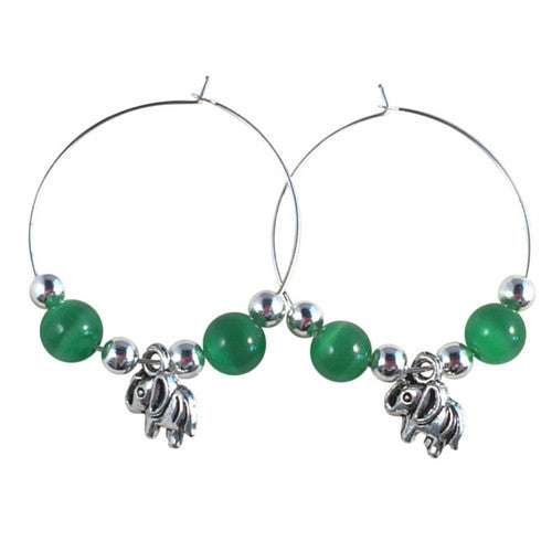 ELEPHANT Charm HOOP EARRINGS with Green Cats Eye Beads on Silver Tone Hoops - Vilda Fashion Jewellery - 1