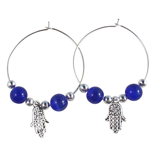HAMSA Charm HOOP EARRINGS with Deep Blue Cats Eye Beads on Silver Tone Hoops Fatima's Hand Miriam - Vilda Fashion Jewellery - 1