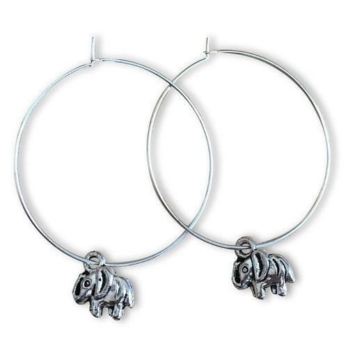 ELEPHANT Charm Plain Silver Tone HOOP EARRINGS - Vilda Fashion Jewellery