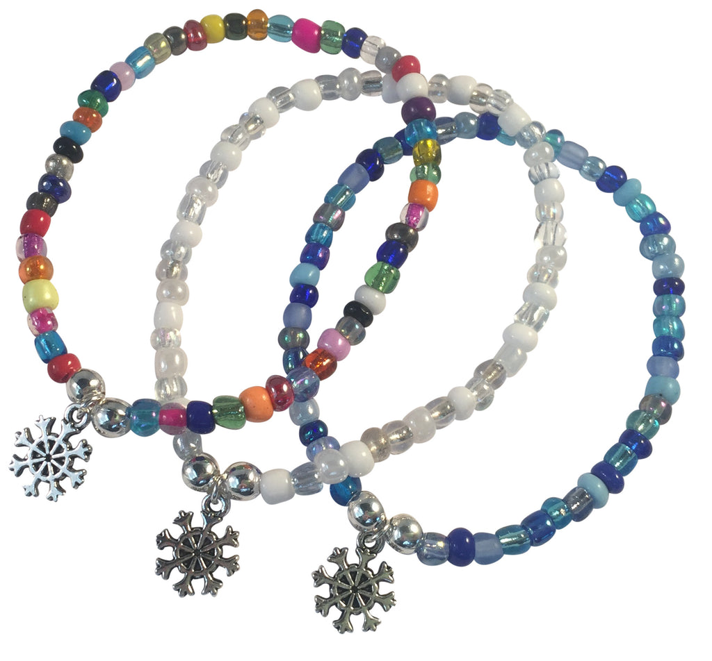 Snowflake Charm BRACELET 9 Colour Choices Seed Glass Beads and Silver Tone Beads - Vilda Fashion Jewellery - 1