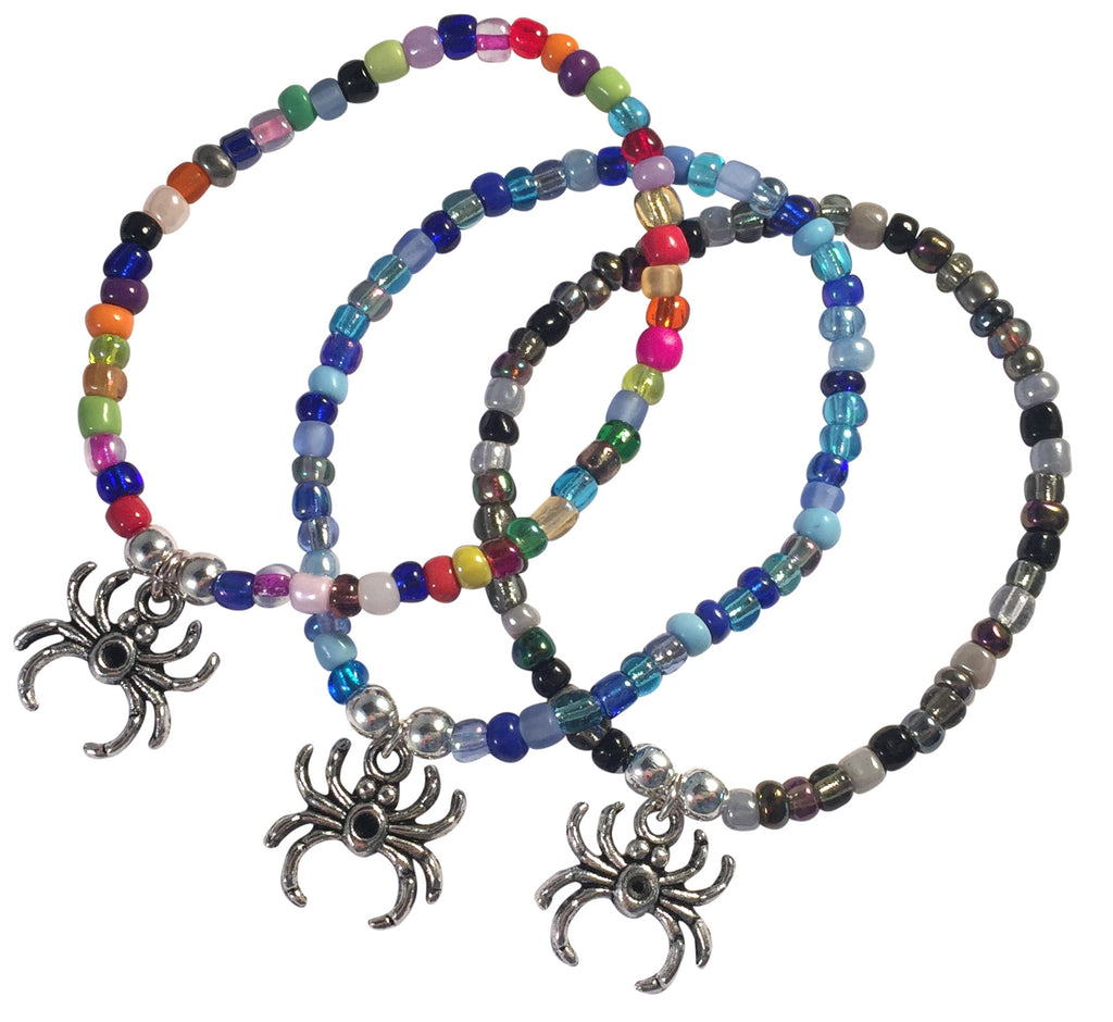 Spider Charm BRACELET 9 Colour Choices Seed Glass Beads and Silver Tone Beads - Vilda Fashion Jewellery - 1