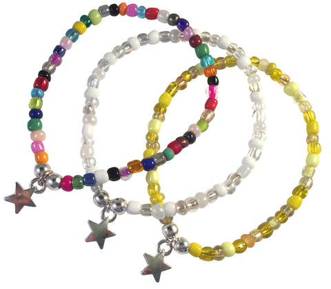 Dangly Star Charm BRACELET 9 Colour Choices Seed Glass Beads and Silver Tone Beads - Vilda Fashion Jewellery - 1