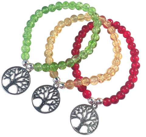 TREE OF LIFE Charm BRACELET 10 Colours with 6mm Crackle Glass Beads and Silver Tone Beads - Vilda Fashion Jewellery - 1