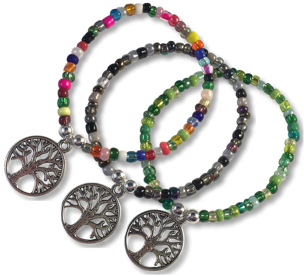 TREE of LIFE Charm BRACELET 9 Colour Choices Seed Glass Beads and Silver Tone Beads - Vilda Fashion Jewellery - 1