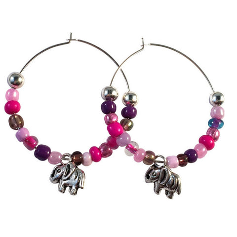 ELEPHANT Charm HOOP EARRINGS with Pink and Purple Glass Seed Beads on Silver Tone Hoops