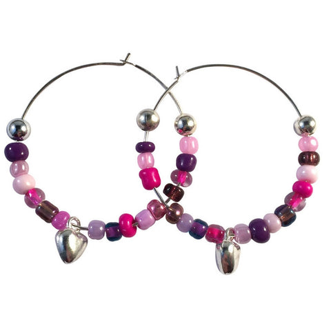 HEART Charm HOOP EARRINGS with Pink and Purple Glass Seed Beads on Silver Tone Hoops