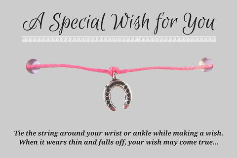Horseshoe Charm WISH BRACELET/ ANKLET 14 Colours Hemp with Silver Tone Charm - Vilda Fashion Jewellery - 3